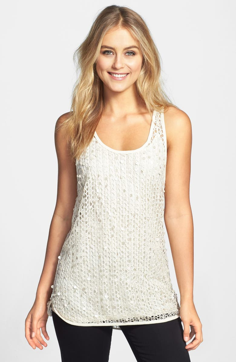 VINCE CAMUTO Paillette Mesh Tank, Main, color, 250