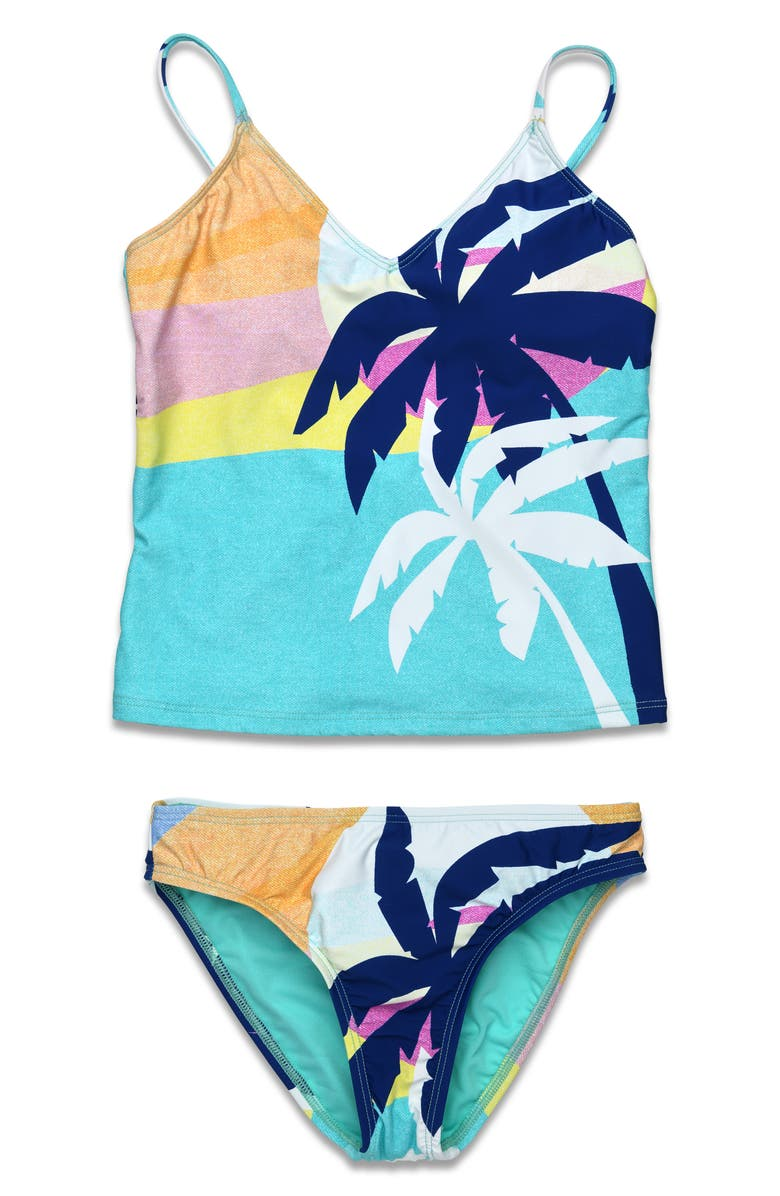 HOBIE Kids' Palm Tree Two-Piece Swimsuit, Main, color, SEAGREEN