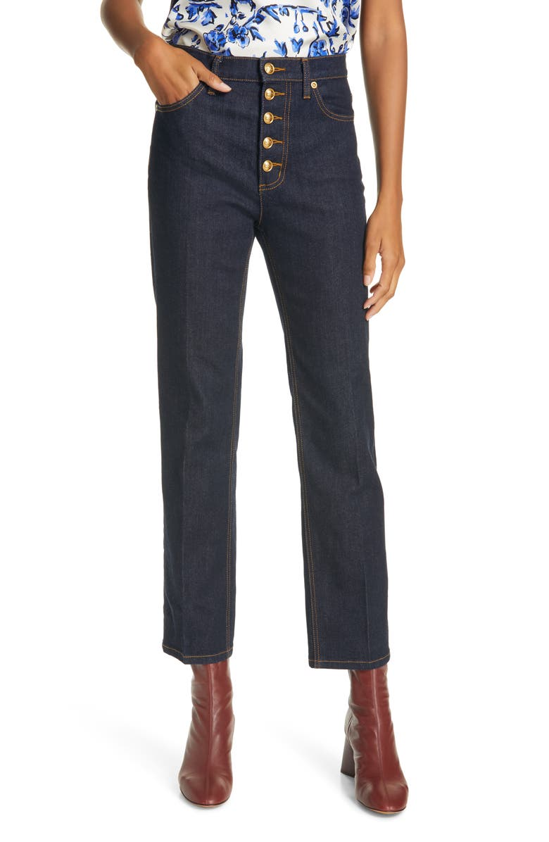 TORY BURCH Button Fly Crop Jeans, Main, color, RESIN RINSE