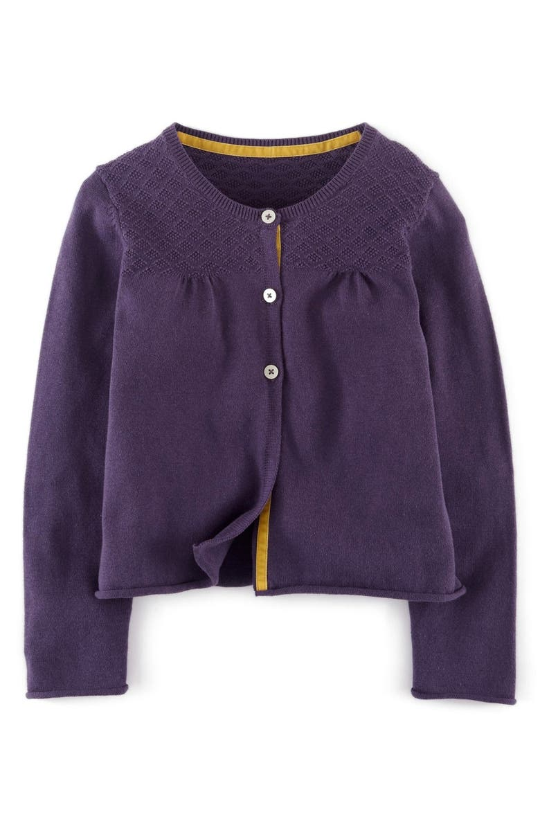 MINI BODEN Everyday Cardigan, Main, color, SOOT