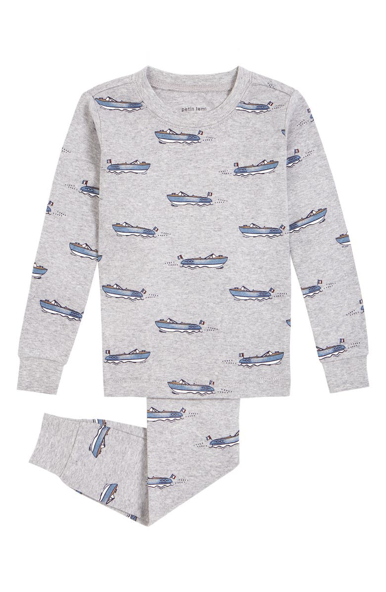 PETIT LEM Kids' Boats Fitted Two-Piece Pajamas, Main, color, 050