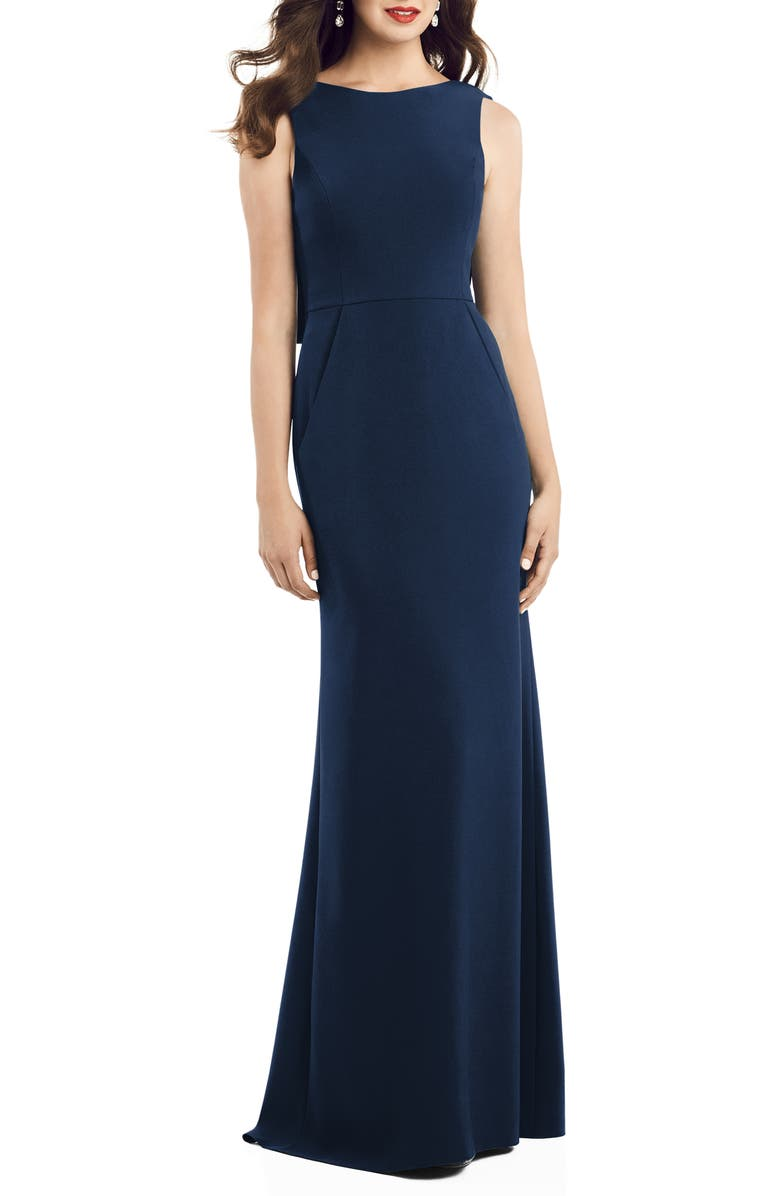 DESSY COLLECTION Crepe Trumpet Gown, Main, color, MIDNIGHT
