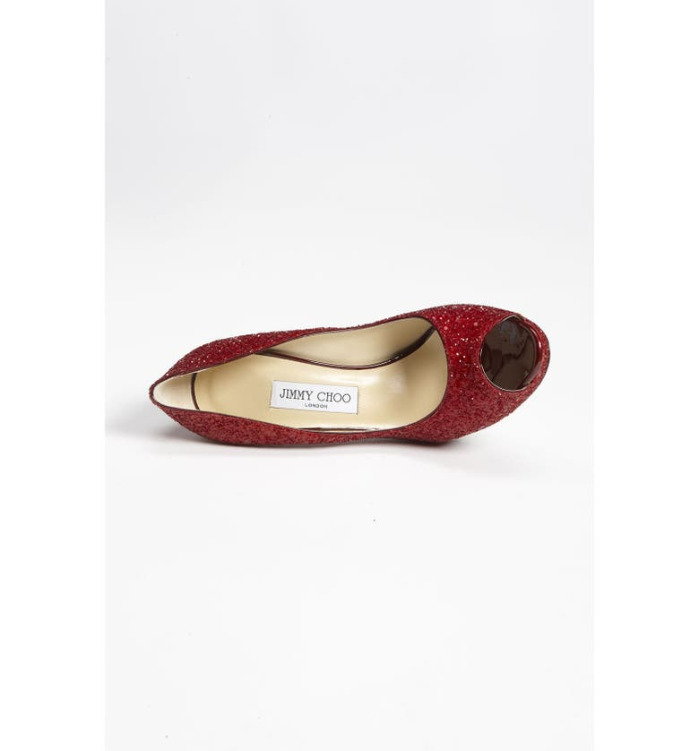 JIMMY CHOO 'Quiet' Glitter Pump, Main, color, RED