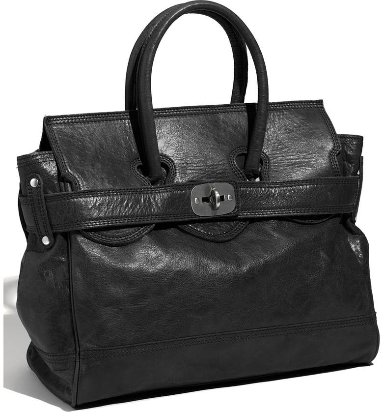 LIEBESKIND 'Patricia' Glazed Leather Satchel, Main, color, 002