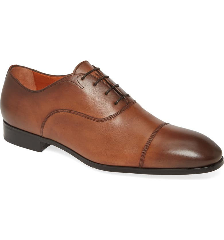 SANTONI Salem Cap Toe Oxford, Main, color, BROWN/ BROWN