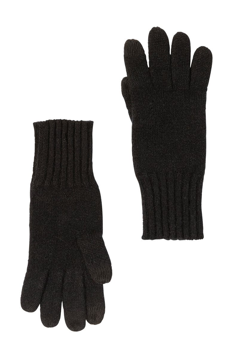 AMICALE Cashmere Touch Screen Knit Glove, Main, color, BLACK
