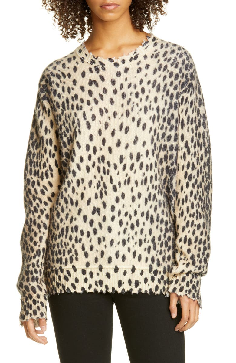 R13 Cheetah Print Distressed Cashmere Sweater, Main, color, 200