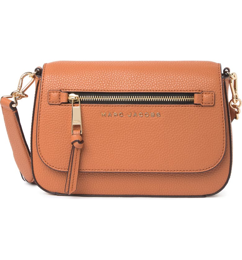 MARC JACOBS Leather Saddle Crossbody, Main, color, SMOKED ALMOND