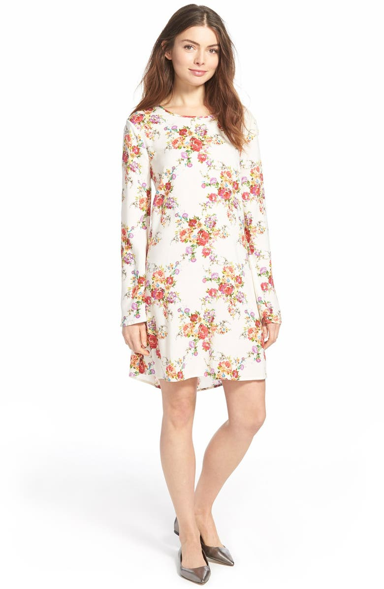 ZOE AND ROSE Open Back Floral Print Shift Dress, Main, color, CREAM GROUND FLORAL