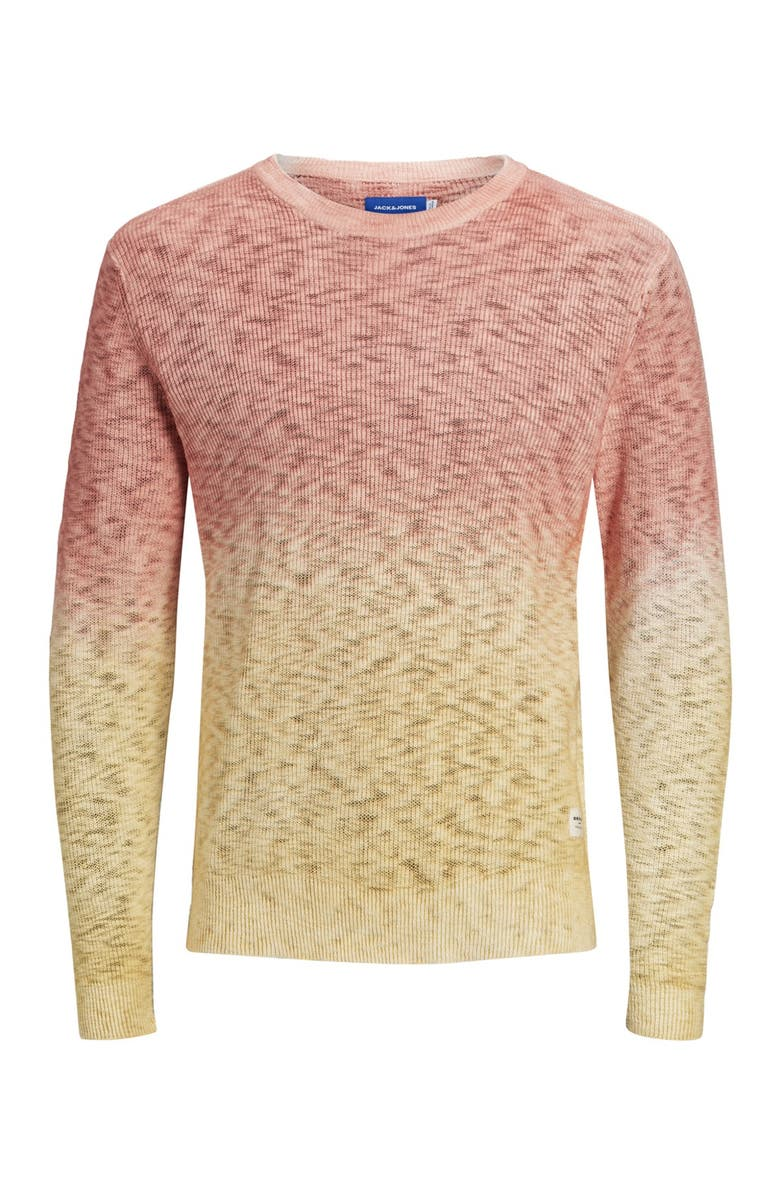 JACK AND JONES Jortied Knit Crew Neck Ombre Sweater, Main, color, CHILI