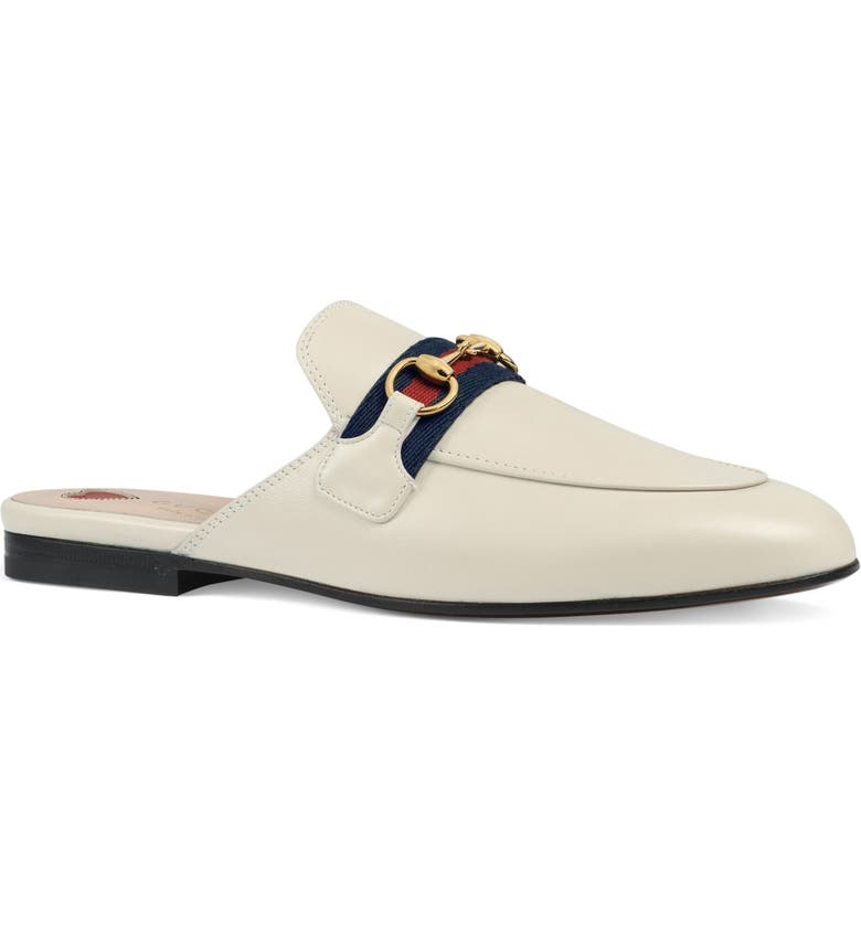 GUCCI Princetown Mule, Main, color, MYSTIC WHITE/ BLUE/ RED