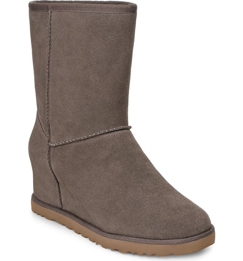 UGG<SUP>®</SUP> Classic Femme Wedge Bootie, Main, color, SLATE SUEDE