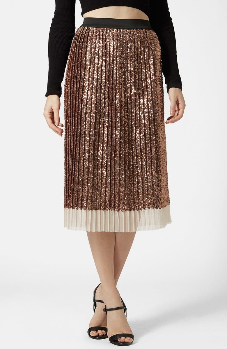 TOPSHOP Sequin Pleated Midi Skirt, Main, color, 220
