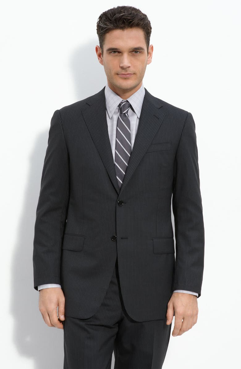 HICKEY FREEMAN Black Pinstripe Worsted Wool Suit, Main, color, 001