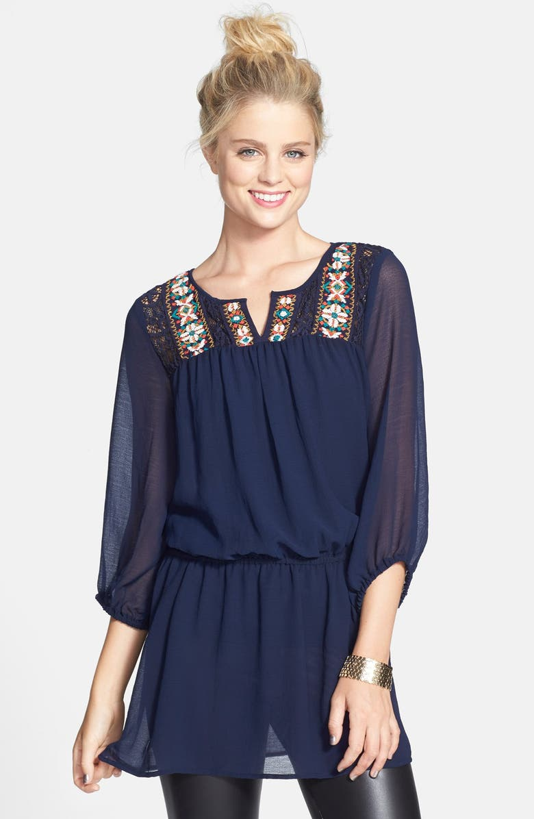LOVE ON A HANGER Embroidered High/Low Tunic, Main, color, 400