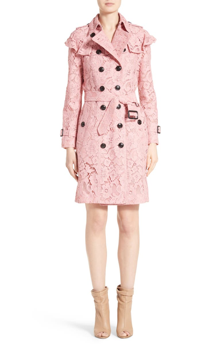 BURBERRY Stanhill Ruffle Lace Trench Coat, Main, color, 513