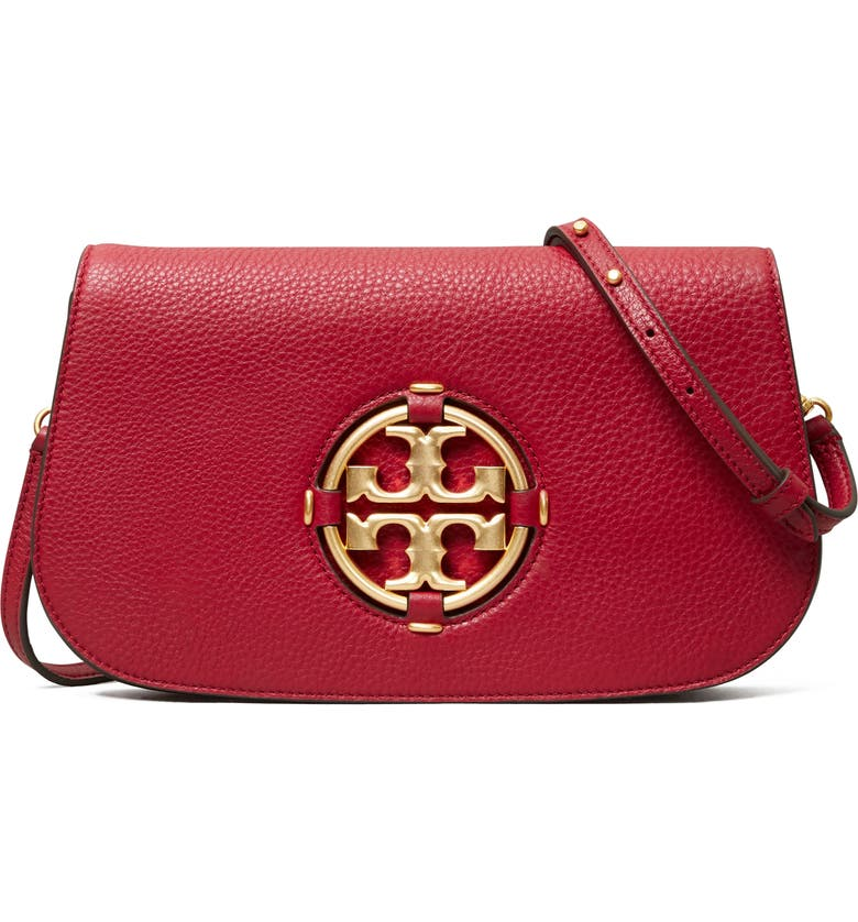 TORY BURCH Miller Pebbled Leather Clutch, Main, color, LOGANBERRY