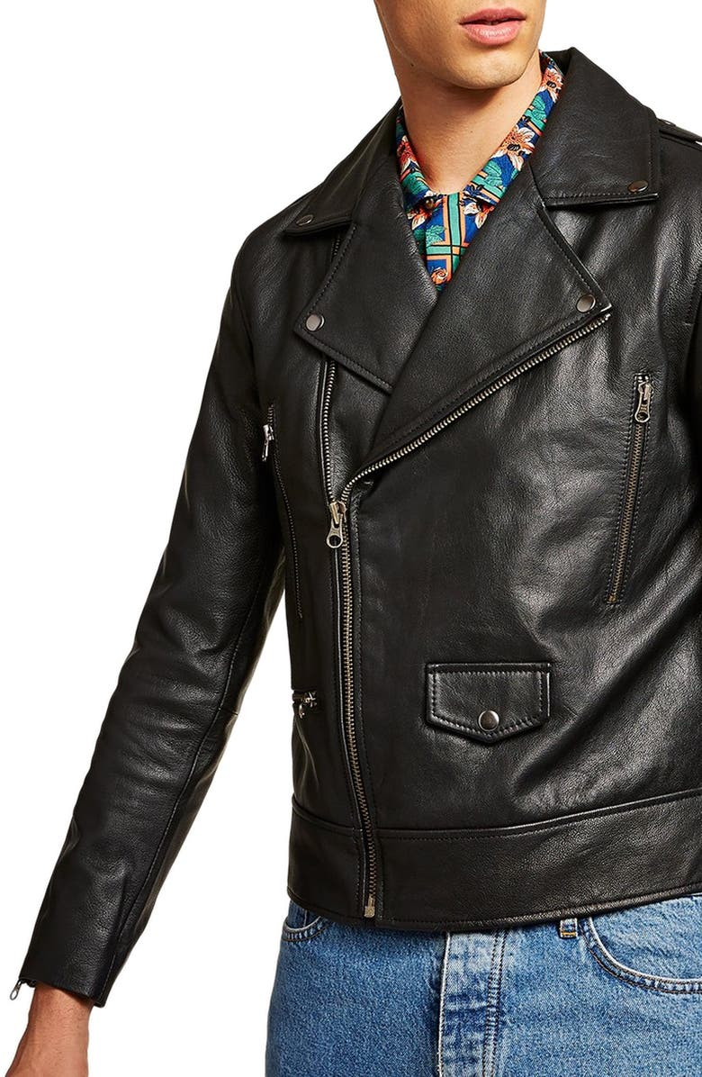 TOPMAN Classic Fit Leather Biker Jacket, Main, color, 001