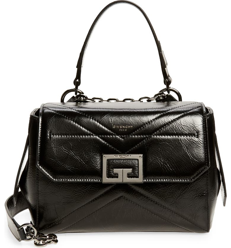 GIVENCHY Small ID Creased Leather Satchel, Main, color, BLACK