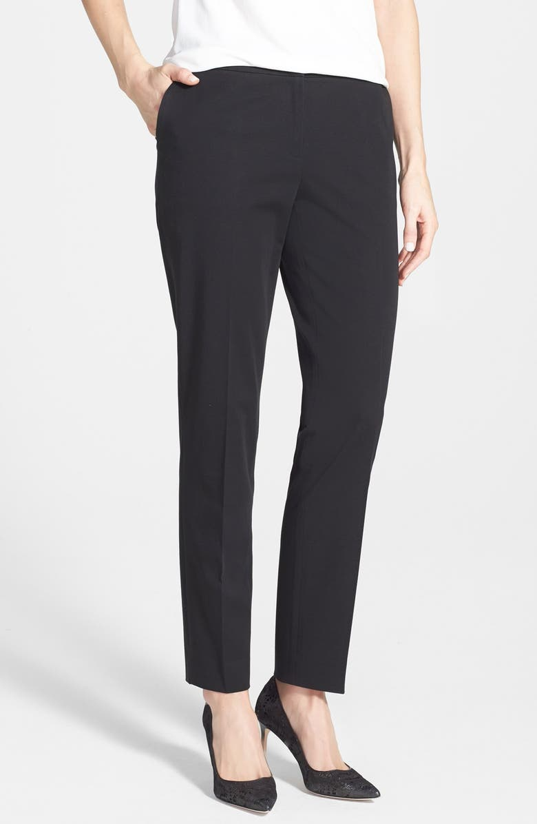 LAFAYETTE 148 NEW YORK 'High Twist' Skinny Twill Ankle Pants, Main, color, 001