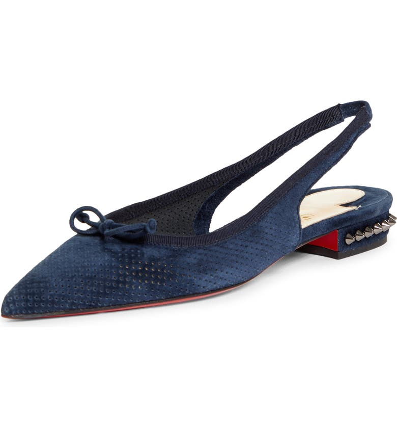 CHRISTIAN LOUBOUTIN Hall Spike Perforated Slingback Flat, Main, color, VERSION NAVY