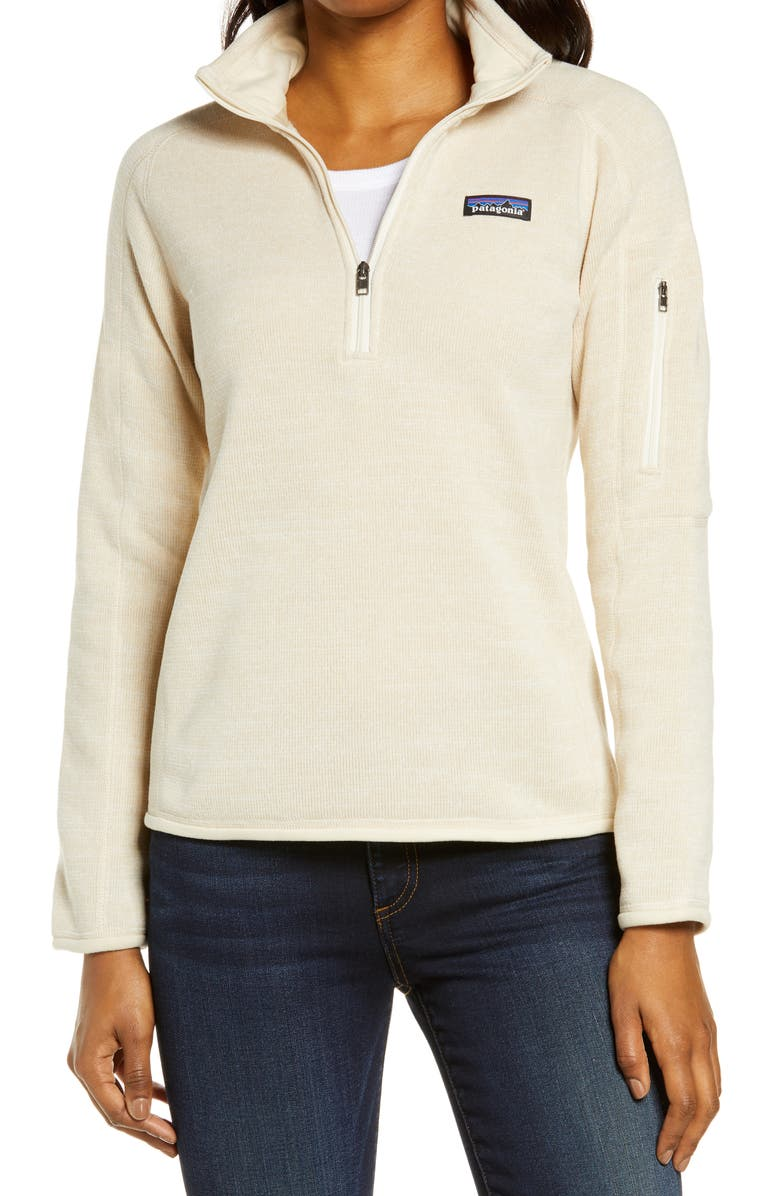 PATAGONIA Better Sweater Quarter Zip Performance Jacket, Main, color, OYSTER WHITE