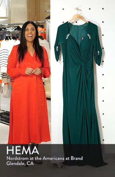 Embellished Twist Front Jersey Gown, sales video thumbnail