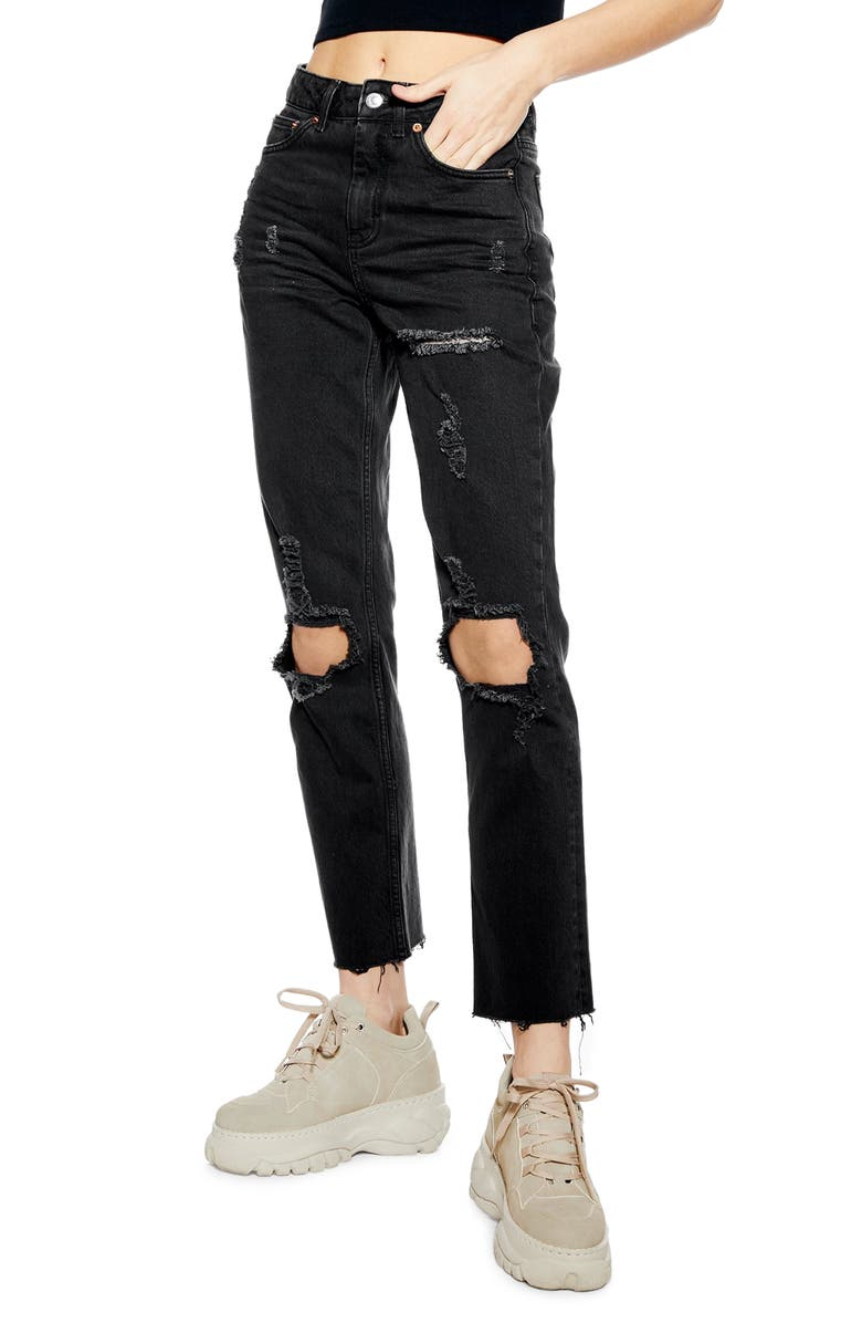 TOPSHOP Ripped Straight Leg Jeans, Main, color, 003