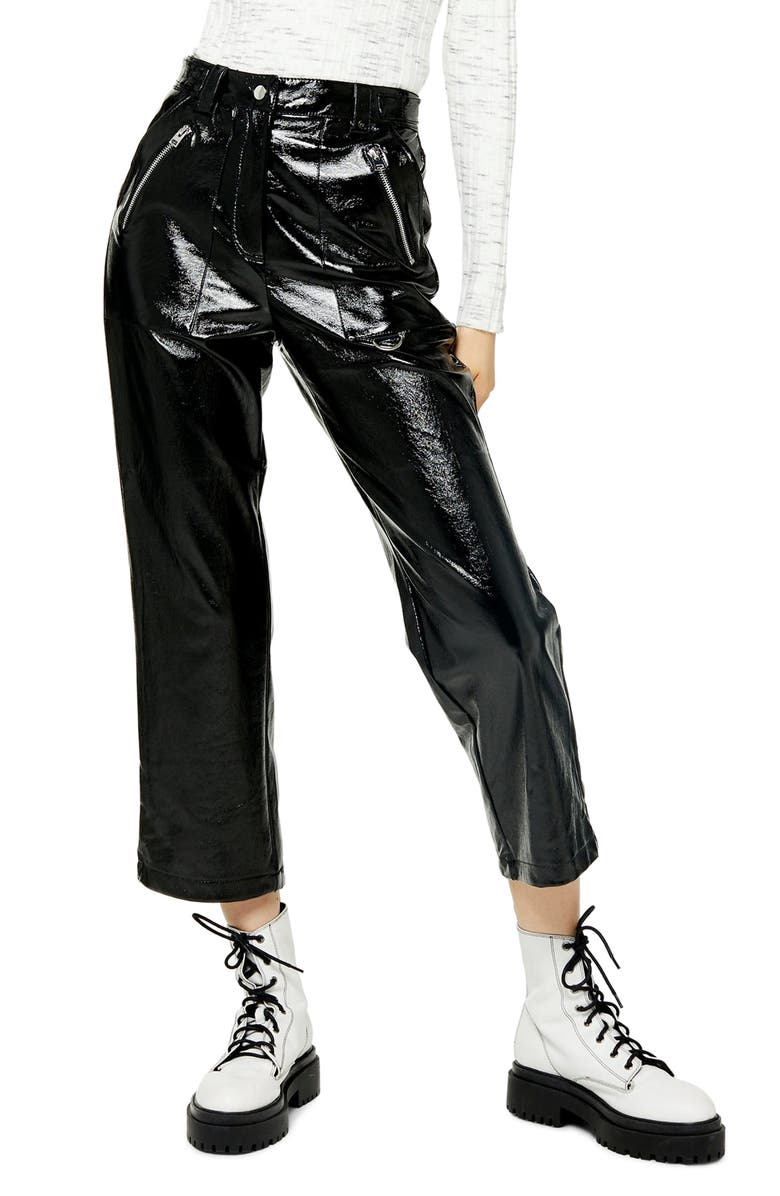 TOPSHOP Lily Straight Leg Faux Leather Trousers, Main, color, 001