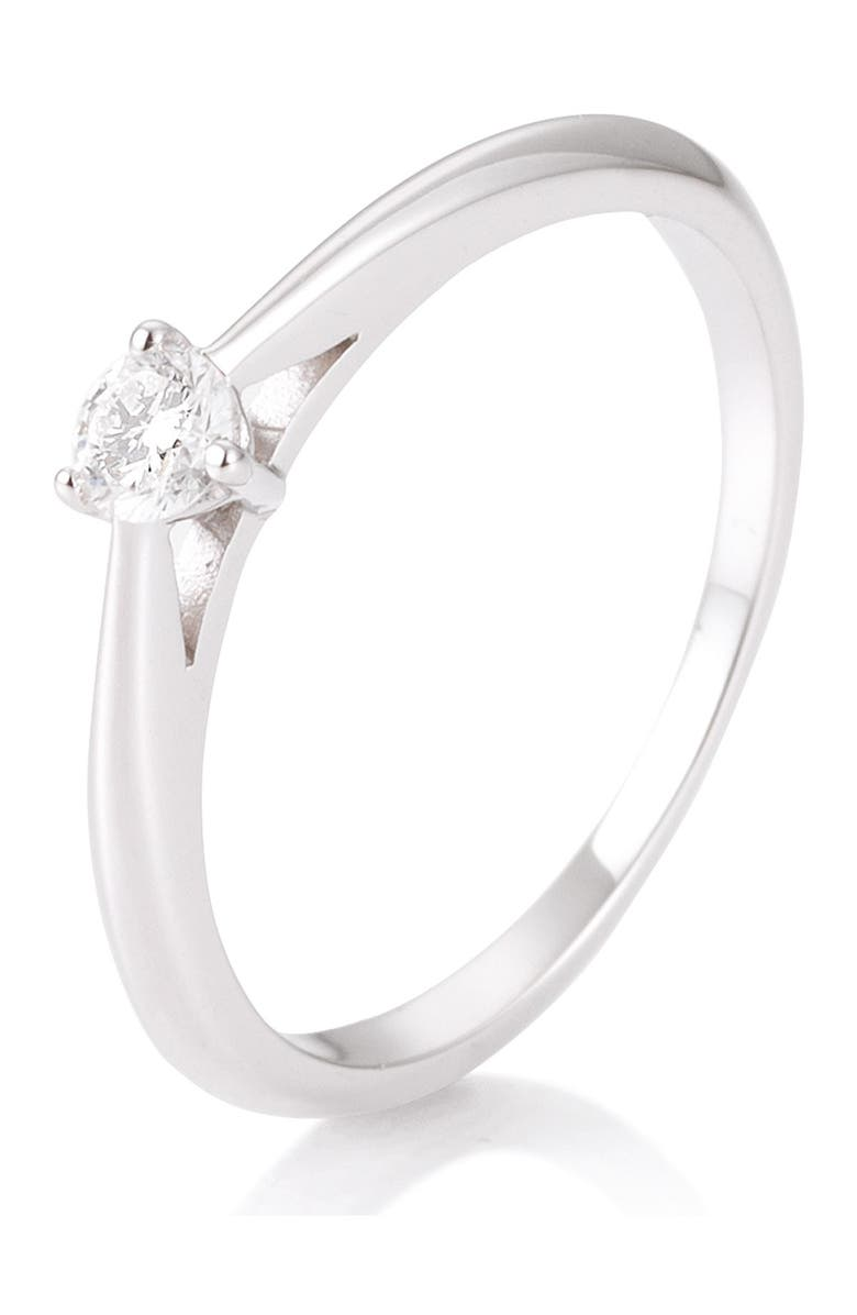 BREUNING 14K White Gold Diamond Solitaire Ring - Size 7.5 - 0.15 ctw, Main, color, SILVER