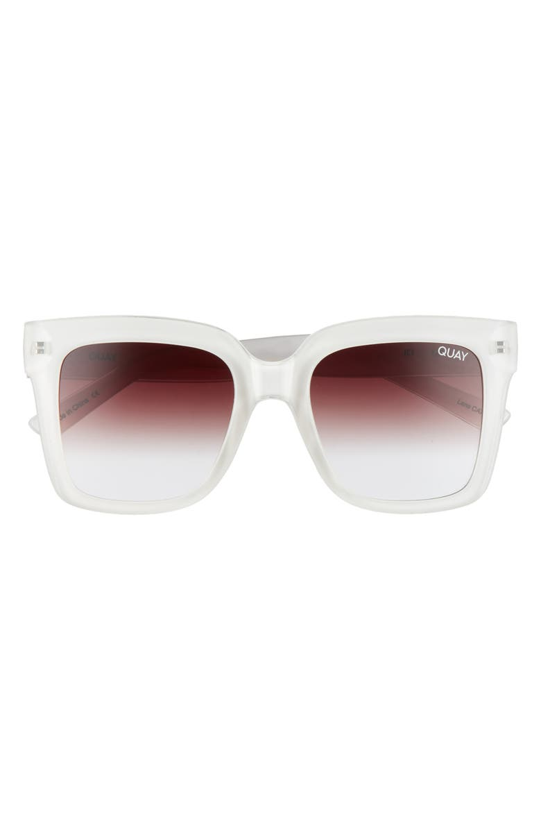 QUAY AUSTRALIA Icy 58mm Ombré Sunglasses, Main, color, WHITE/ BROWN