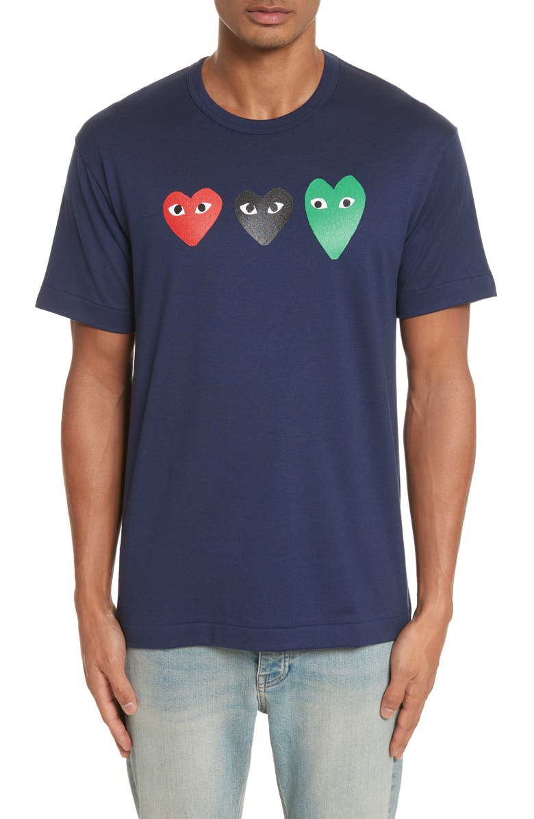 COMME DES GARÇONS PLAY Graphic Tee, Main, color, NAVY