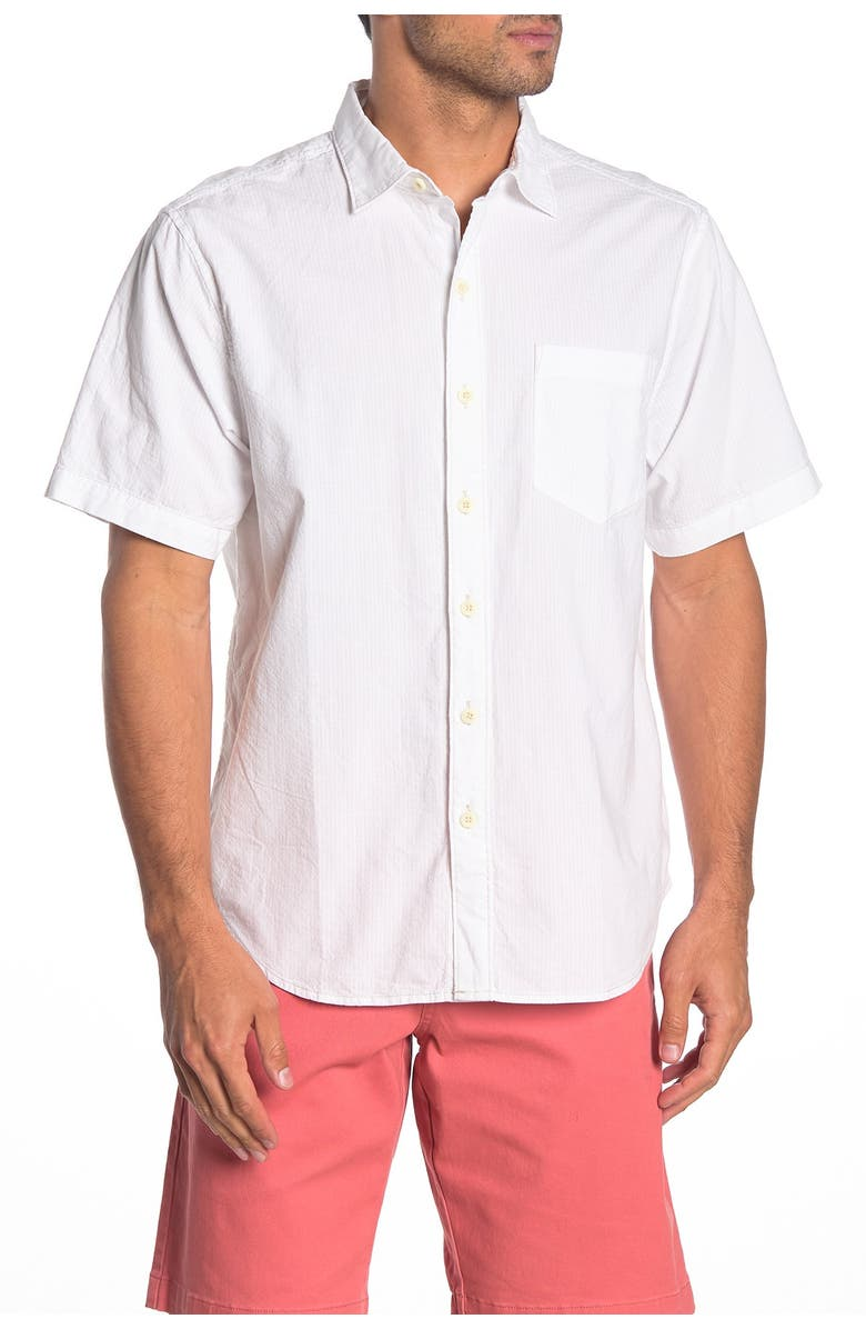 TOMMY BAHAMA Skysail Short Sleeve Button Front Regular Fit Shirt, Main, color, WHITE