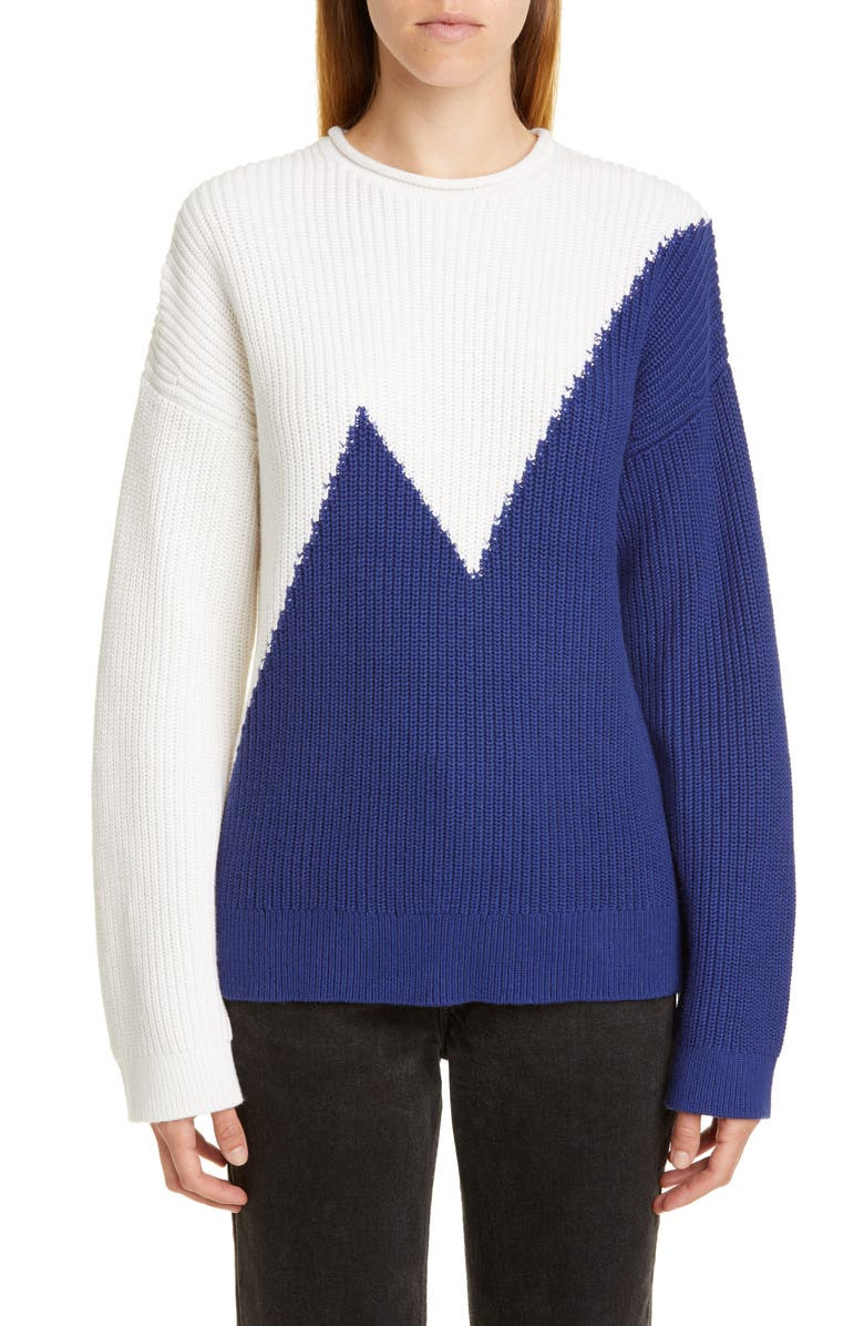 VICTOR GLEMAUD Colorblock Cotton & Cashmere Sweater, Main, color, 100