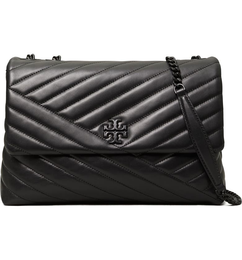 TORY BURCH Kira Chevron Quilted Convertible Leather Crossbody Bag, Main, color, BLACK