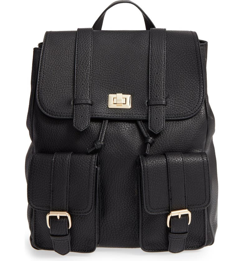 SOLE SOCIETY 'Shaw' Faux Leather Backpack, Main, color, Black