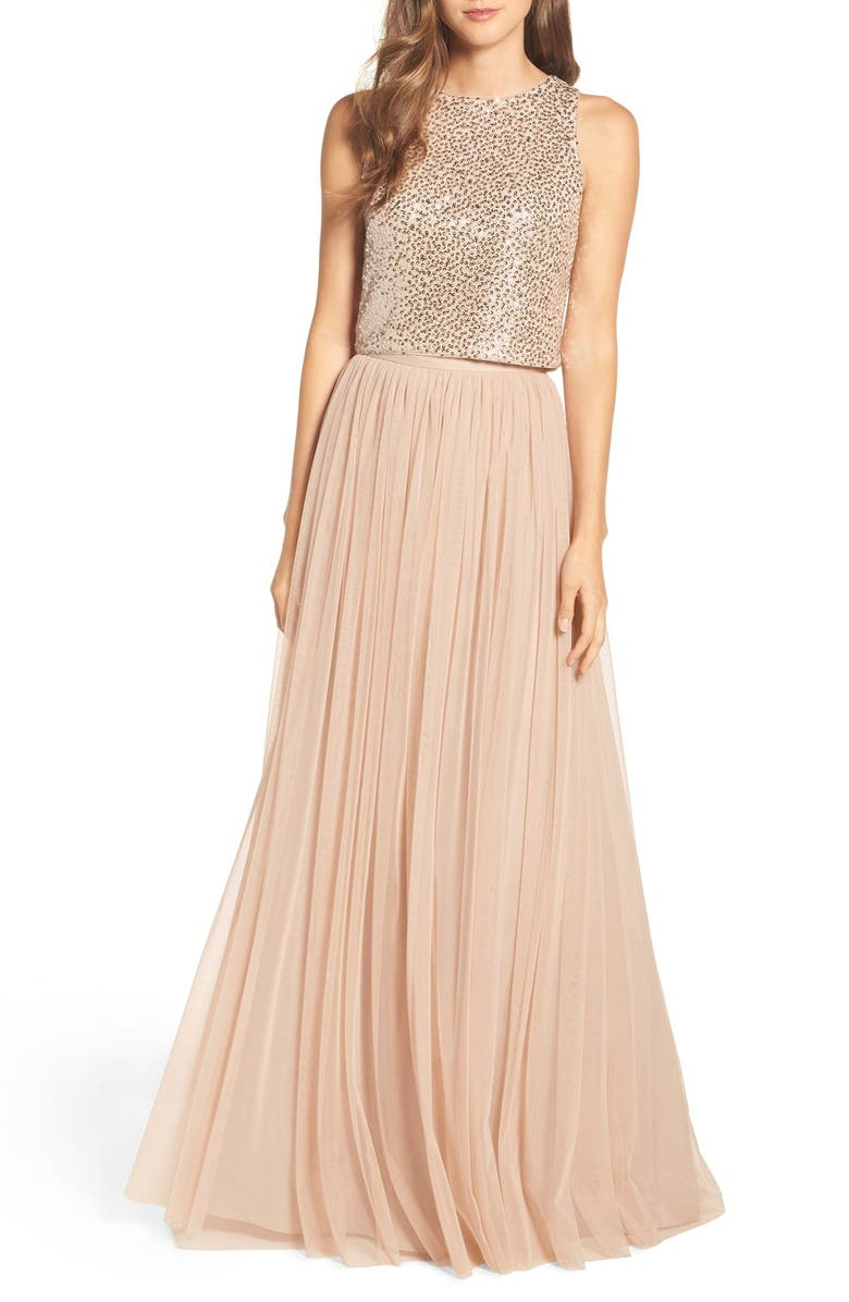 ADRIANNA PAPELL Sequin Two Piece Gown, Main, color, NUDE