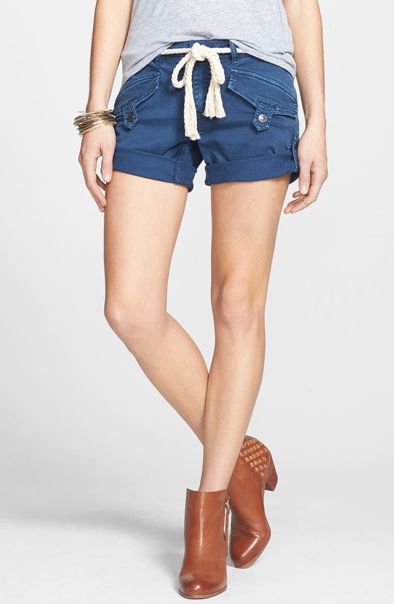 FREE PEOPLE 'Nautical' Rope Belted Cuffed Shorts, Main, color, 410