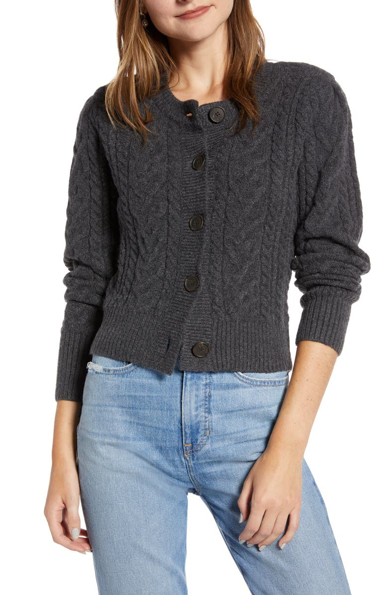 SOMETHING NAVY Crewneck Cable Cardigan, Main, color, 021