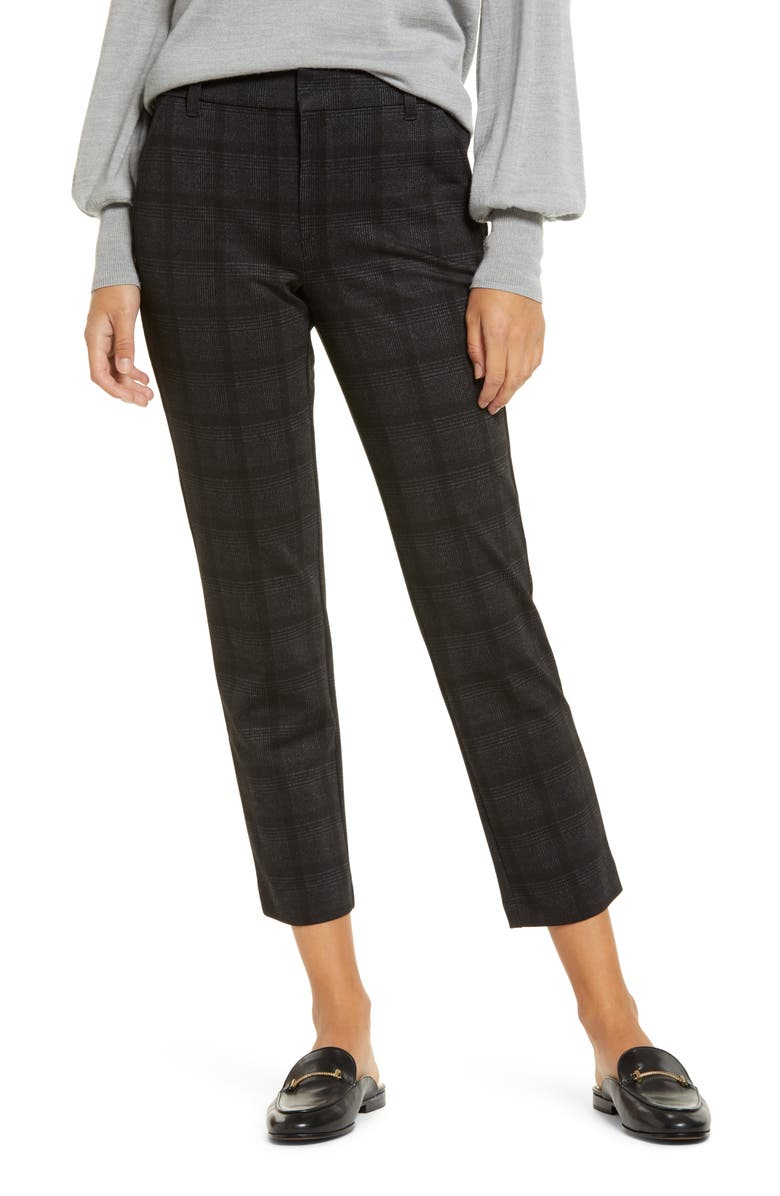 WIT & WISDOM Ab-Solution Plaid Ankle Trousers, Main, color, BLACK/ CHARCOAL