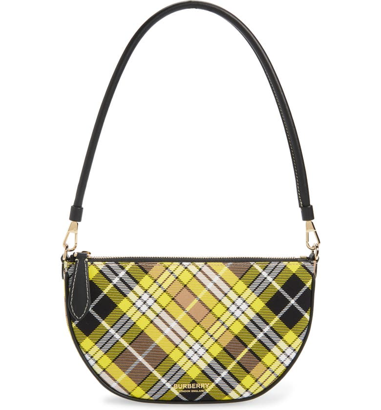 BURBERRY Olympia Tartan Pouch, Main, color, MARIGOLD YELLOW