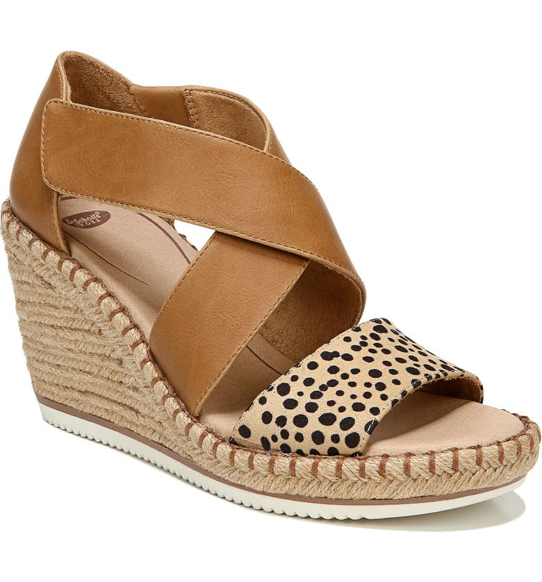DR. SCHOLL'S Vacay Wedge Sandal, Main, color, TAN BLACK FAUX LEATHER