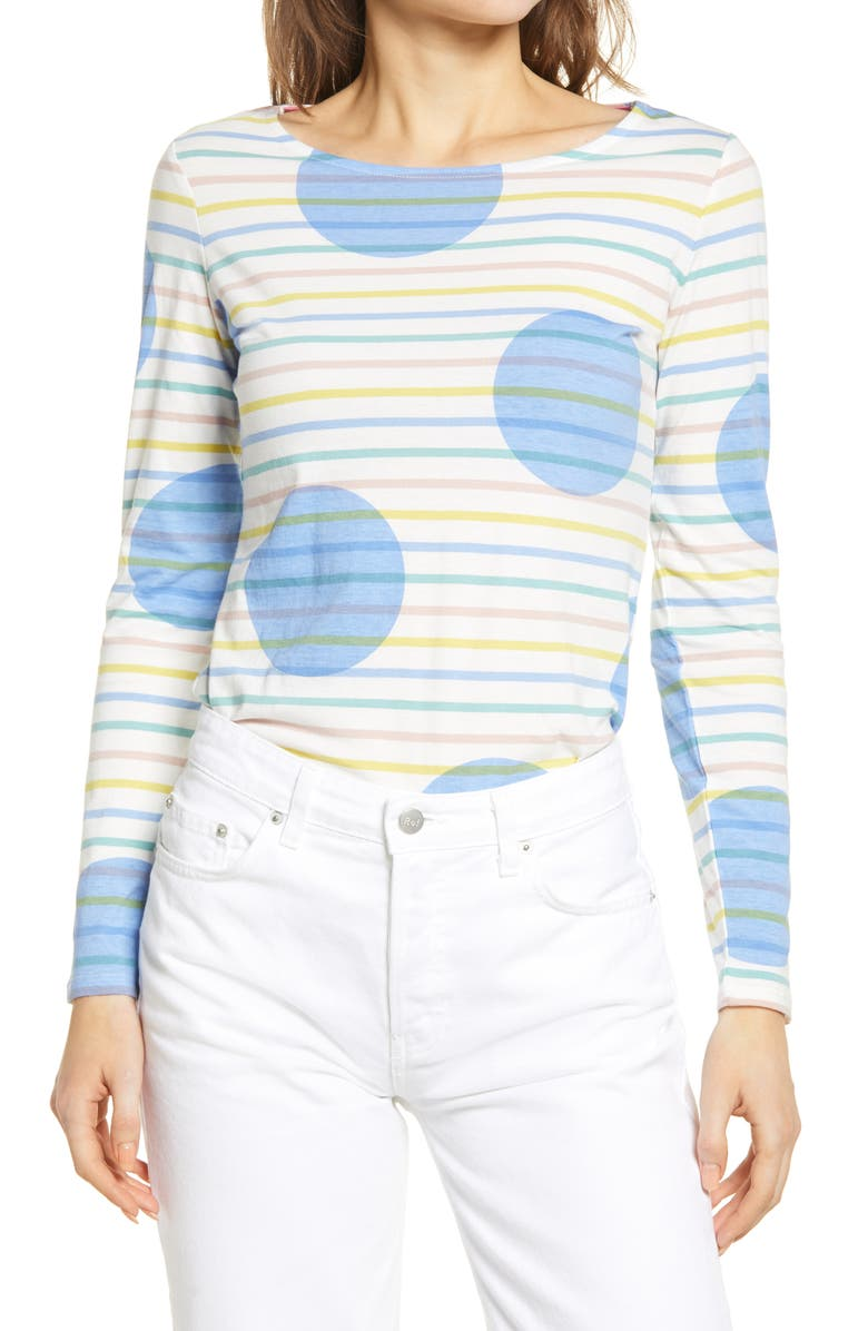 BODEN Long Sleeve Breton Top, Main, color, PASTEL RAINBOW STRIPE