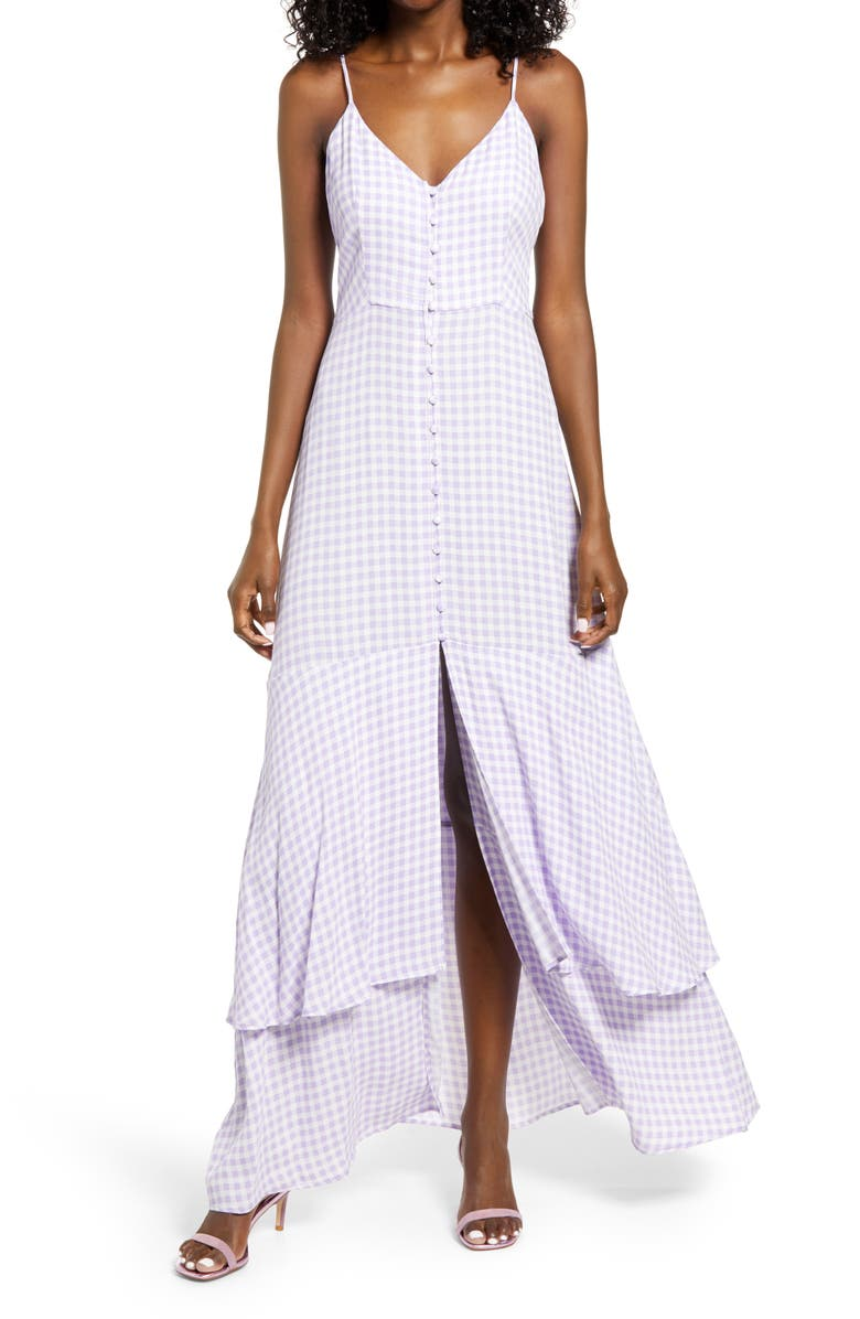 AFRM Nella Print Tiered Dress, Main, color, LILAC GINGHAM