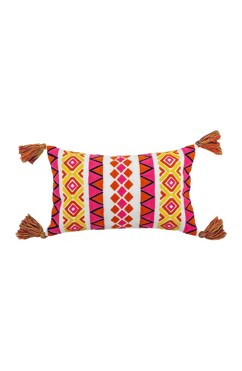 """DIVINE HOME Embroidered Louise Outdoor Pillow - 12"""" x 20"""" - Pink/Orange, Main, color, PINK / ORANGE"""