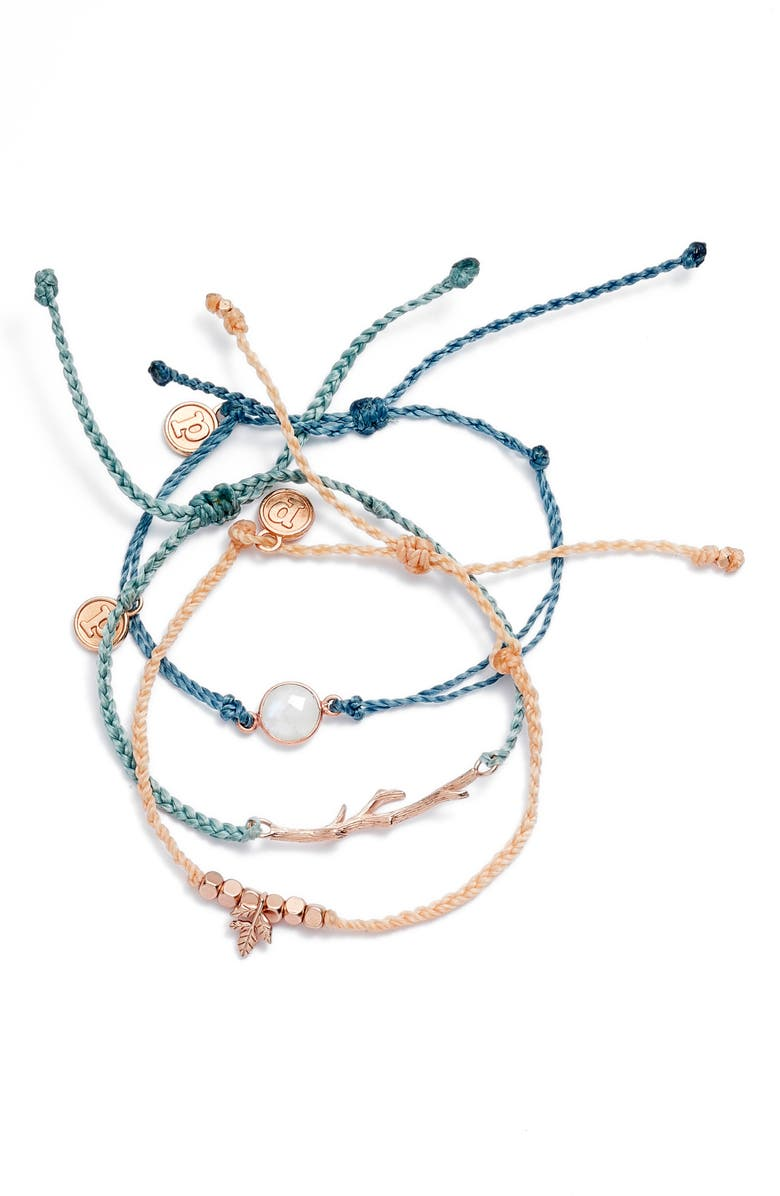 PURA VIDA Forest Dawn 3-Pack String Bracelets, Main, color, Blue/ Green/ Multi
