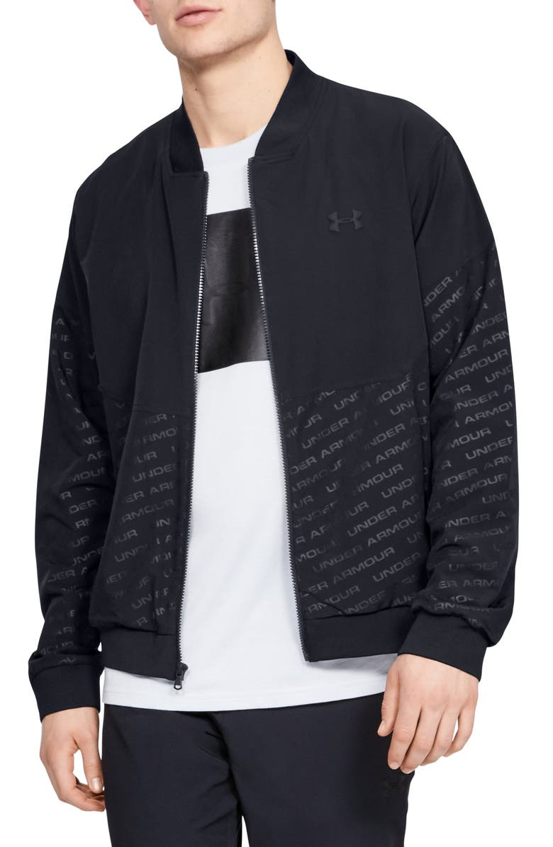 UNDER ARMOUR Unstoppable Water Repellent Embossed Performance Bomber Jacket, Main, color, 001