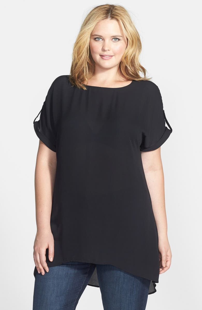 SEJOUR Split Back Soft Crepe Tunic Top, Main, color, 001