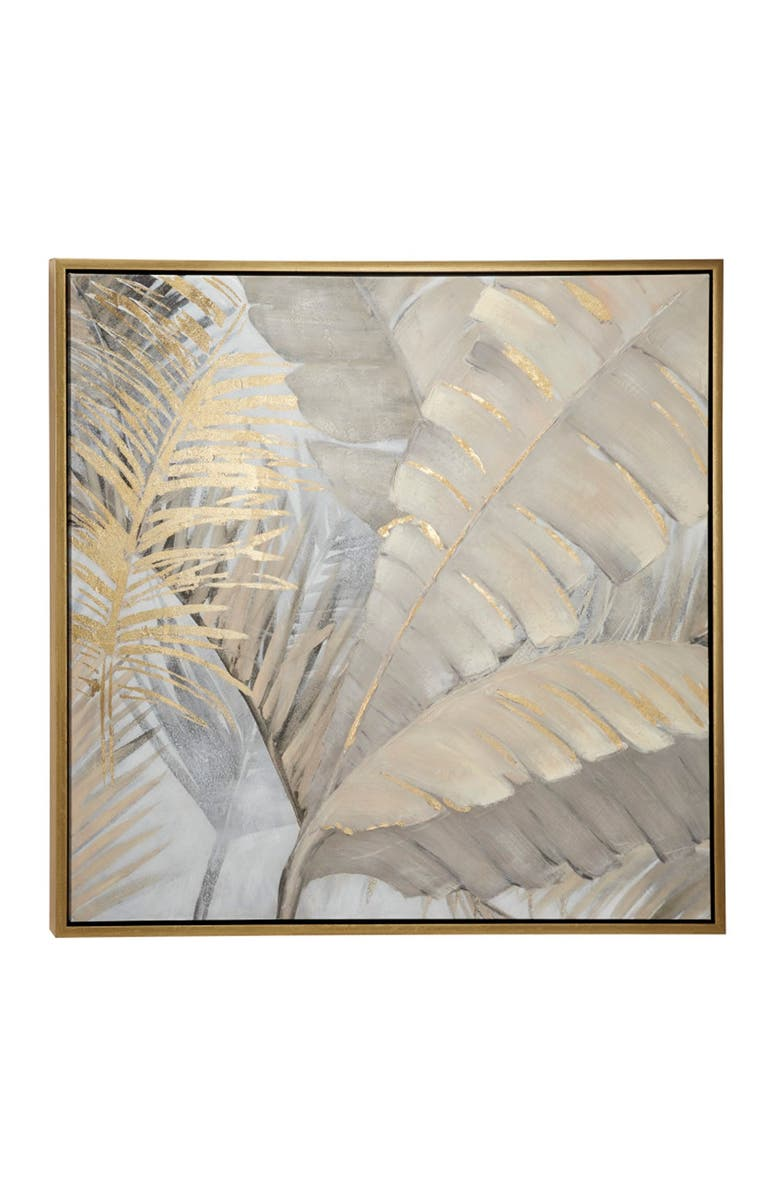 COSMO BY COSMOPOLITAN Large Square Palm Leaves & Ferns Acrylic Framed Painting, Main, color, BROWN