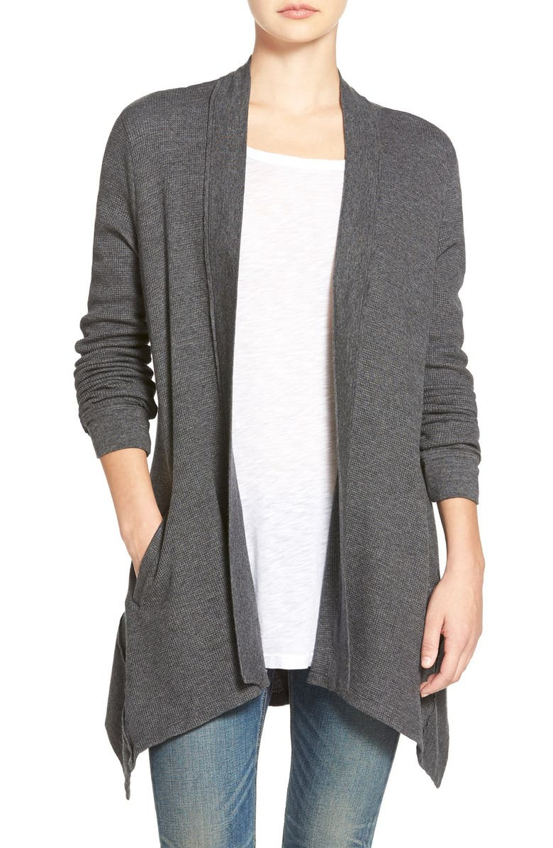 SPLENDID Waffle Knit Open Front Cardigan, Main, color, CHARCOAL